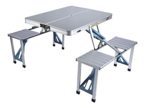 Mesa plegable con 4 sillas portatil exterior picnic aluminio