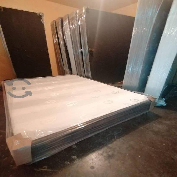 Box base de cama maciza forrada vinipiel/algodon