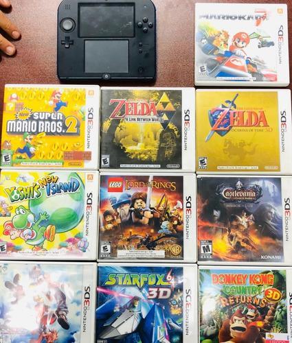 Nintendo 2ds azul con 10 juegos (zelda, mario, castlevania)