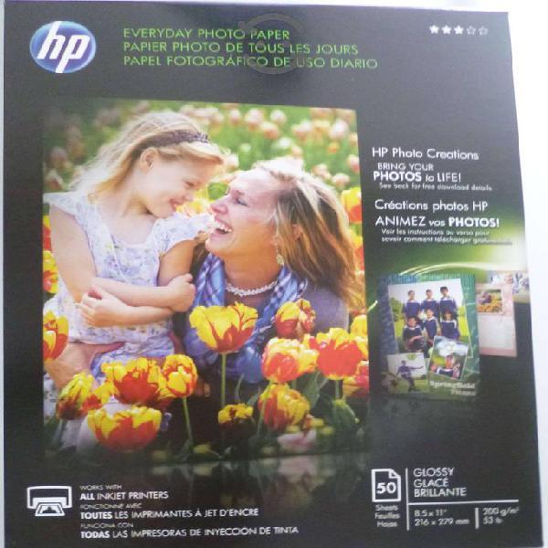 Papel fotografico hp brillante 5ohjs tamaño carta