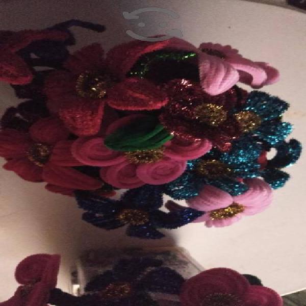 Venta de 6 plumas decoradas en forma de flor