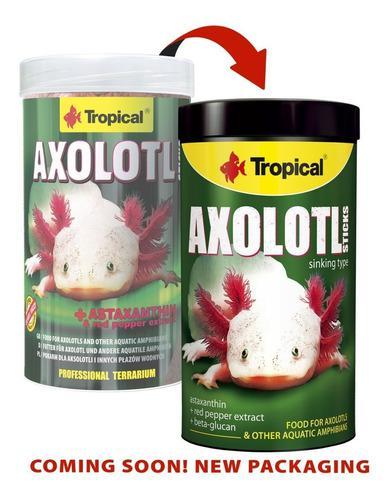 Alimento para ajolotes anfibios tropical axolotl sticks 135b