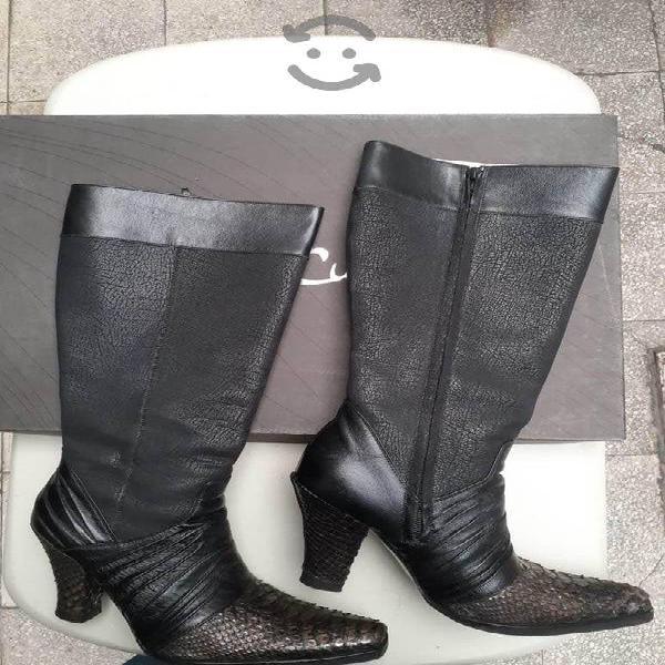 Botas mujer franco cuadra piel pitón talla 24 cm