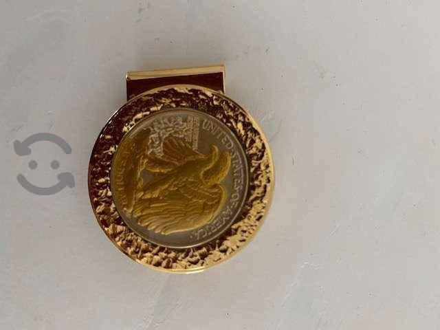 Broche billetes chapeado en oro- conmemorativo eua