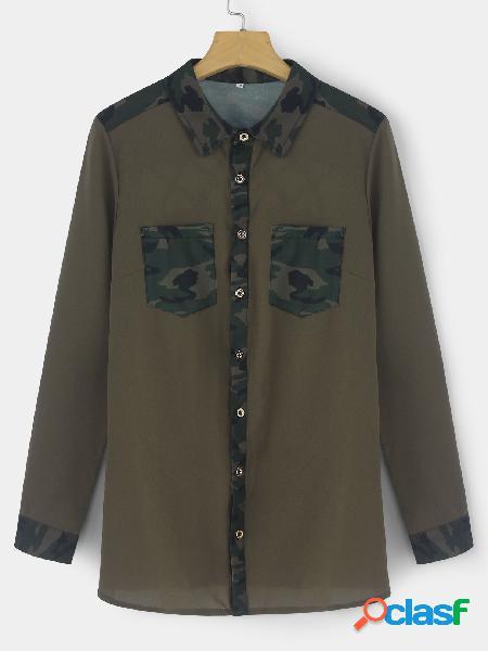 Camisas de manga corta con estampado de camuflaje casual verde militar