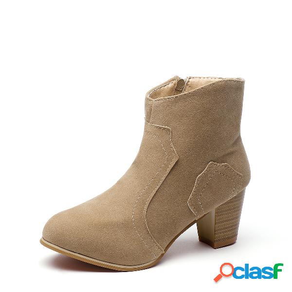 Albaricoque round toe chunky heel frosted boots