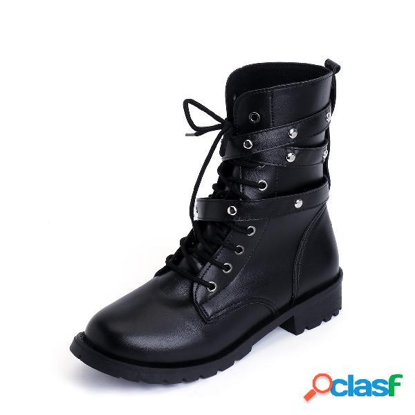 Black rivet design hebilla con cordones martin boots