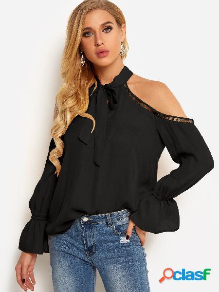 Blusas con cuello halter con diseño de amarre en los hombros y mangas de campana
