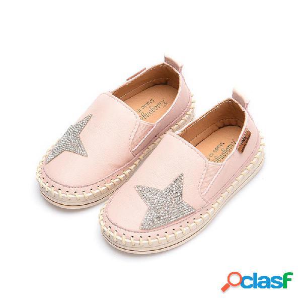 Girls shining sequined star decor costura zapatos cómodos planos