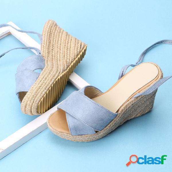 Gran tamaño mujer color sólido peep toe lace up wedges sandalias