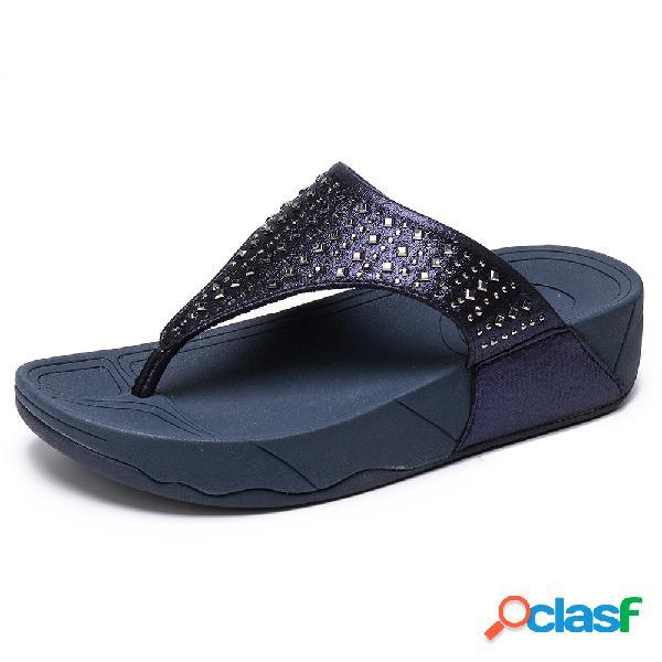 Mujer color sólido filp flops casual playa plataforma zapatillas