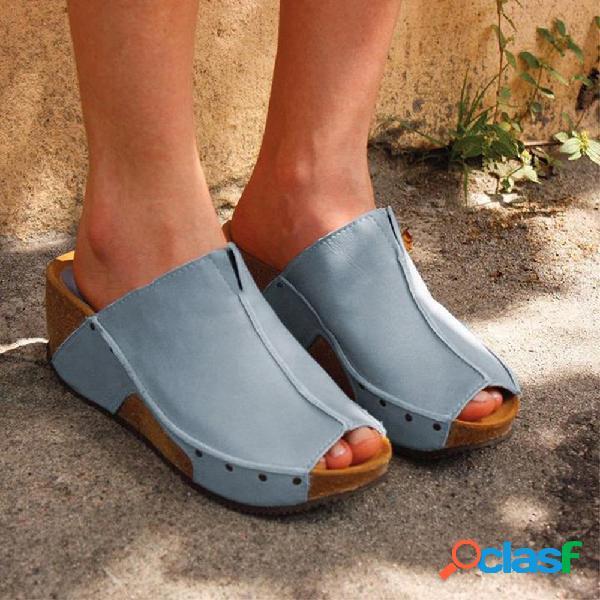 Plus tamaño mujer color sólido peep toe wedges heel zapatillas