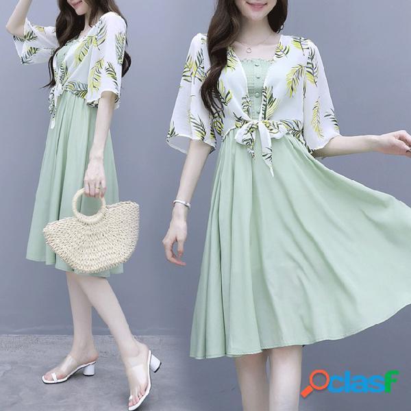 Matcha falda ligera verde de dos piezas sen shawl ropa de protección solar cardigan con falda floral gasa vestido marea