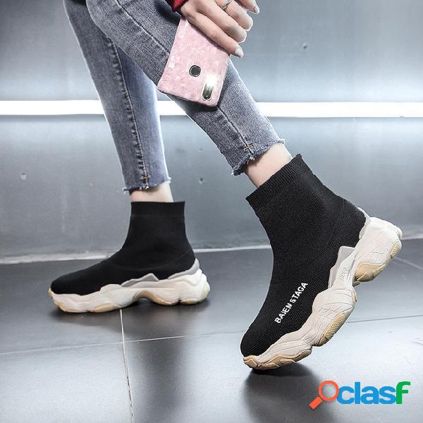 Nuevos calcetines elásticos calzado de mujer calcetines salvajes botas de mujer grueso casual high-top sports net zapatos de mujer rojos