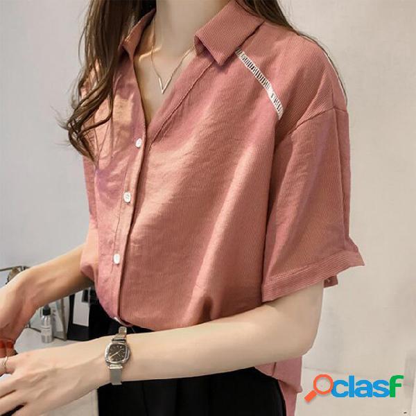 Ropa de mujer nuevo gran tamaño de manga corta a rayas camisa mujer temperamento suelto camisa base camisa marea