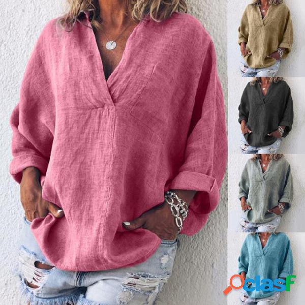 Jersey de manga larga de color sólido con cuello en v europeo y americano para mujer camisa