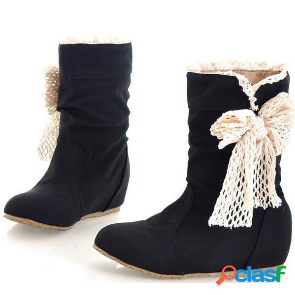 Mujeres mariposa nudo pu cuero medias calf snow boots