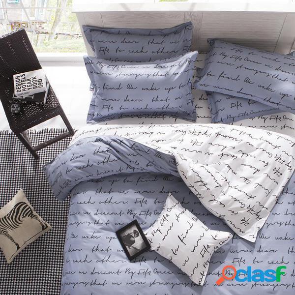 3 o 4pcs poliéster fibra letras reactivas teñido cama conjuntos único tamaño de la reina gemela
