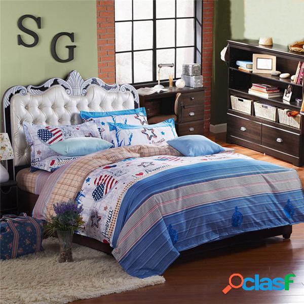 3 o 4pcs traje estilo occidental reactivo teñido de poliéster fibra de cama establece un solo tamaño de la reina gemela