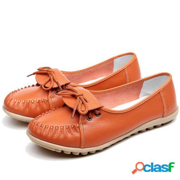 Cuero pure color lace plano soft zapatos cómodos casuales