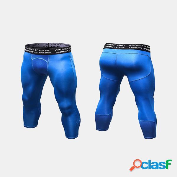 Sport para hombre pantalones medias de entrenamiento transpirables de secado rápido aptitud