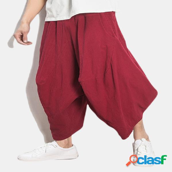 Pantalón ancho monocolor lino