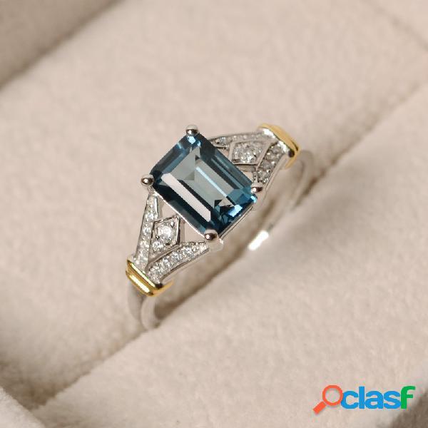 Lujo topaz stone silver anillos gemstone zircon ring regalo romántico joyería de compromiso para mujeres
