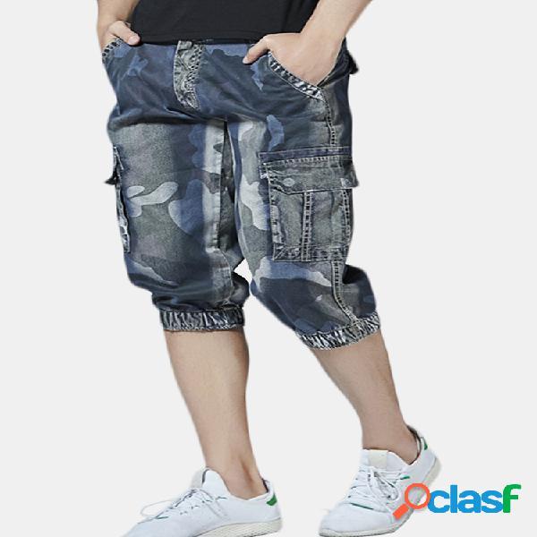 Casual camo multi bolsillos jogger pantalones corto jeans para hombres