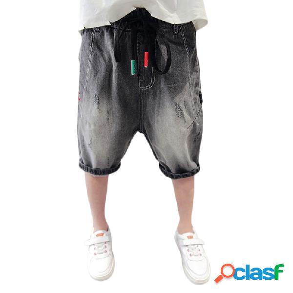 Pantalones cortos de mezclilla casuales estilo harem estilo niño pequeño para niños pequeños jeans pantalones para 4y-15y