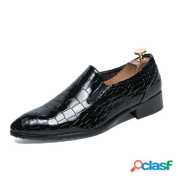 Zapatos de vestir formales casuales en punta de cuero de microfibra para hombre