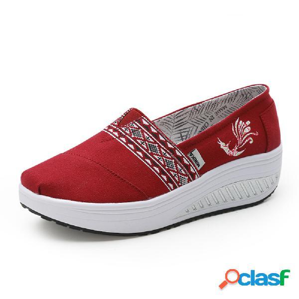Zapatillas de deporte rocker sole de la impresión al aire libre de las mujeres folkways en las zapatillas de deporte