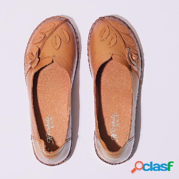 Talla grande mujer zapatos cómodos planos de madre piel genuina con punta redonda para madre