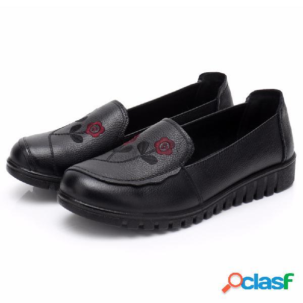 Zapatos bordados de cuero resistentes a los resbalones negros
