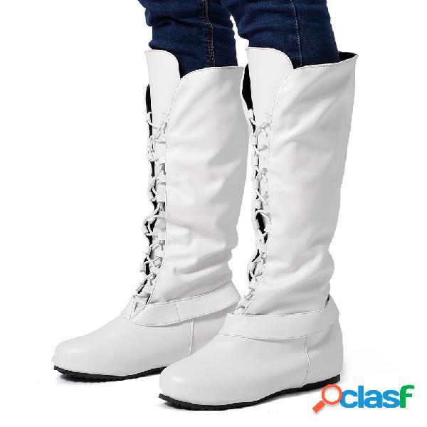 Mujeres de gran tamaño comfy longitud de la rodilla incrementar con cordones botas de montar