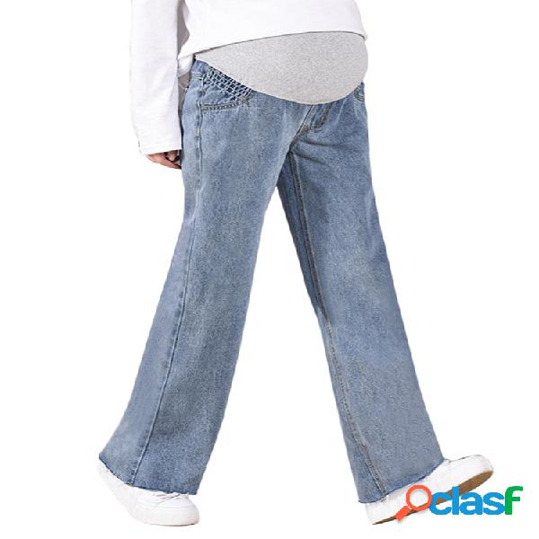 Mujer embarazada pantalones pantalones sueltos jeans maternidad cintura alta pantalones