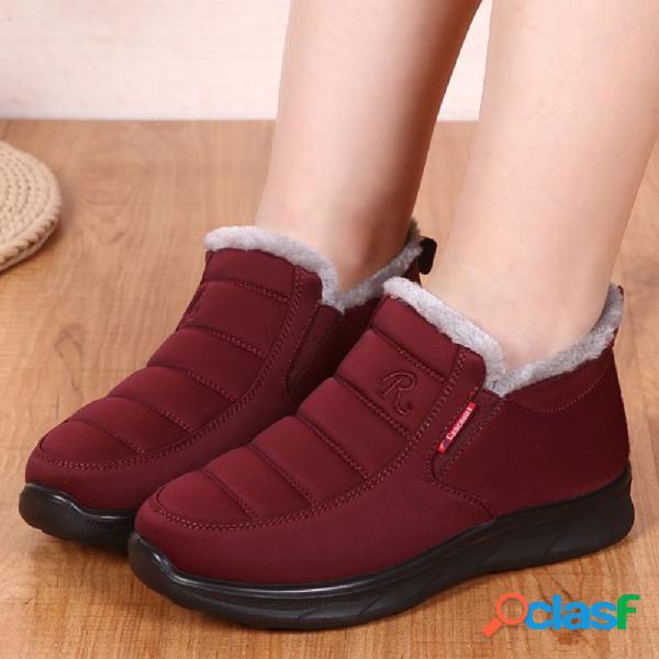 Mujer costura de algodón soft suela plana nieve invierno tobillo botas