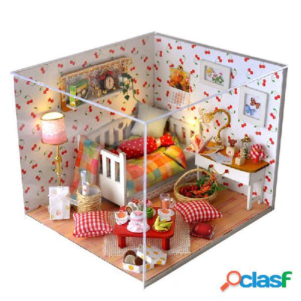 Casa de muñecas diy cherry house con luz de cubierta