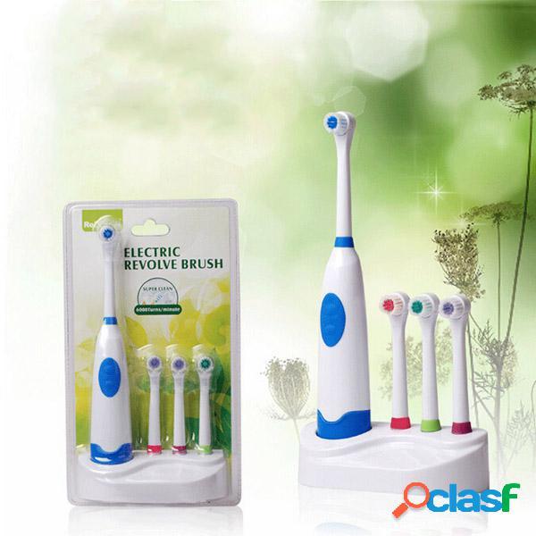 Cepillo de dientes eléctrico ultrasónico de la rotación impermeable con la cabeza del cepillo del reemplazo 3pcs