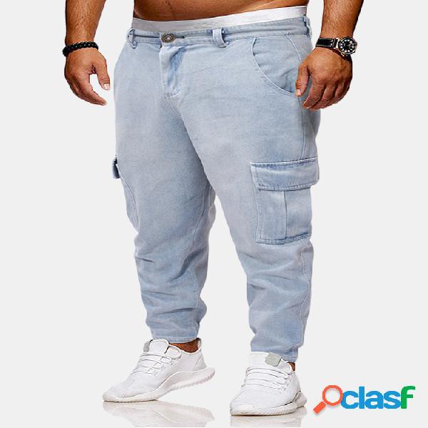 Hombres vendimia lavados bolsillos laterales decoración suelta harem pantalones casual jeans
