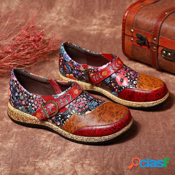 Socofy retro hebilla flores de lujo empalme piel genuina costura cremallera zapatos planos cómodos