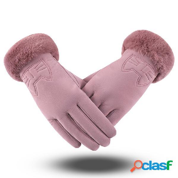 Piel de respiración de la boca de las mujeres terciopelo espesar cuero artificial guantes guante de bordado gato lindo