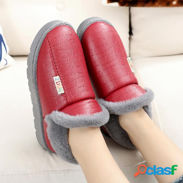 Mujer deslizamiento ligero en forro de piel cálida zapatos casuales planos para el hogar