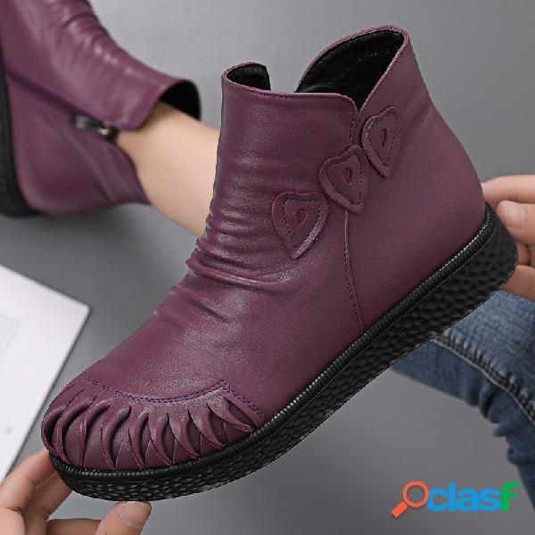 Mujer piel genuina gran tamaño soft suela cómoda tobillo botas