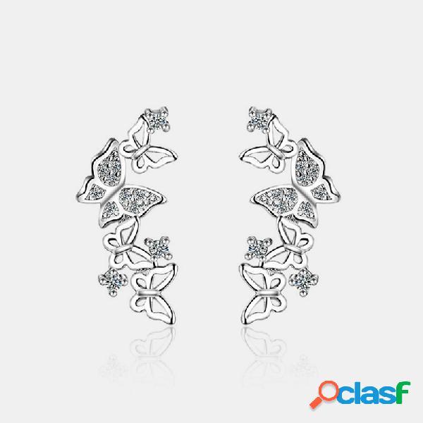 Mariposa elegante de plata 925 pendientes mariposa geométrica de diamantes de imitación hueca oreja stud