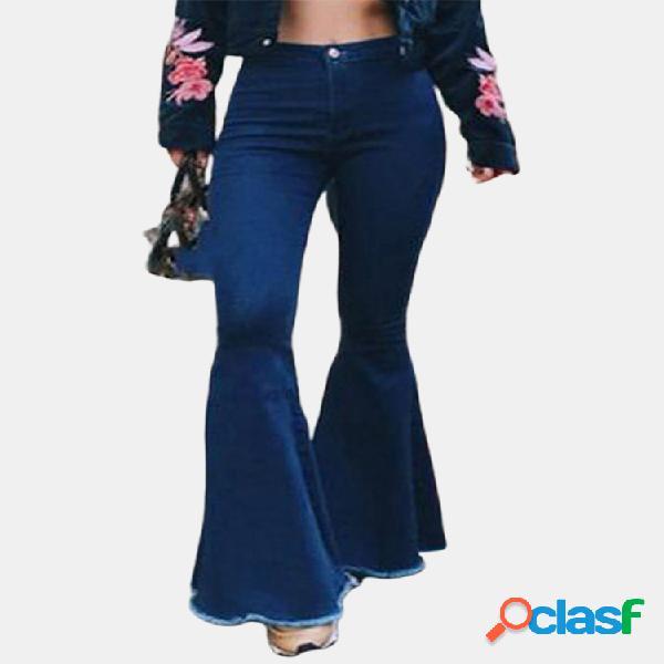 Pantalones casuales de cintura alta con cremallera larga acampanada pantalones jeans pantalones