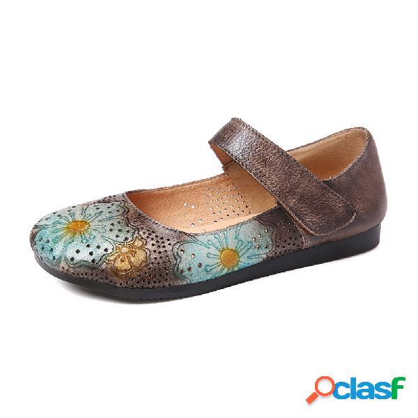 Flor en relieve retro soft zapatos individuales cómodos con cabeza redonda de cuero inferior