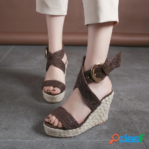 Mujer cuñas alpargata trenzada tacón correa de hebilla cruzada de tobillo sandalias