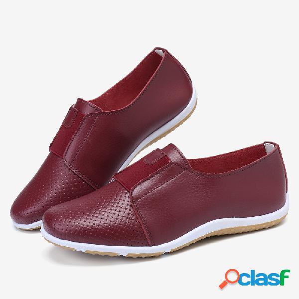 Mujer cuero hueco huecos slip elástico de color sólido en zapatos casuales