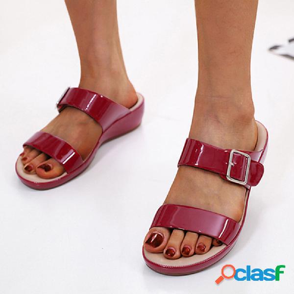 Mujer color sólido hebilla starp aumento de cuñas casuales antideslizantes zapatillas