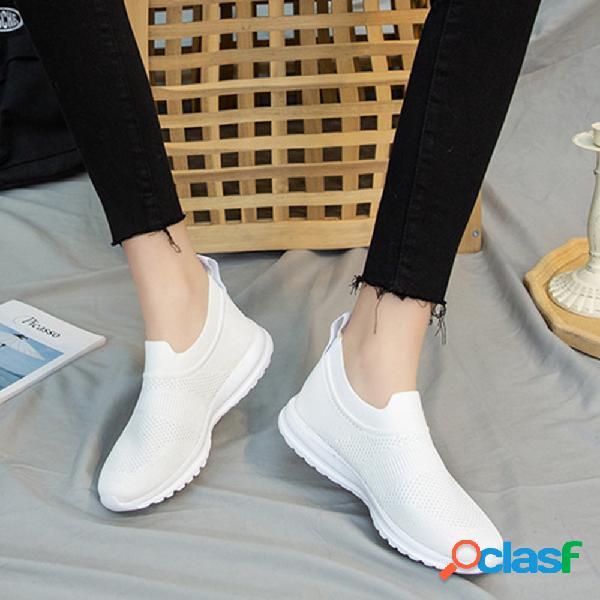 Zapatos deportivos de gran tamaño, cómodos, transpirables, de color sólido, al aire libre